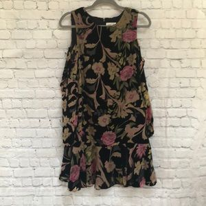 Eliza J  Floral Velvet Burnout Cold Shoulder Dress